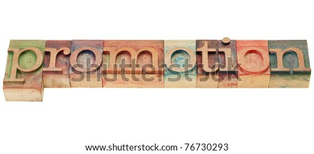 promotion - isolated word in vintage wood letterpress printing blocks - stock photo