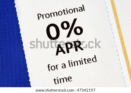 Promotional 0% APR offer isolated on blue - stock photo