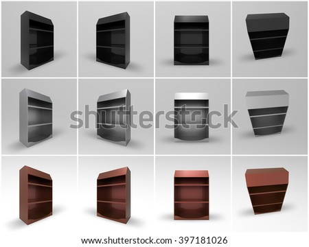 Promotional Shelf Display 3D Render is a professional realistic mock up of a store shelf display, used for marketing campaigns, and in store marketing. - stock photo