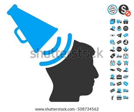 Propaganda Megaphone pictograph with free bonus clip art. Glyph illustration style is flat iconic symbols, blue and gray colors, white background.