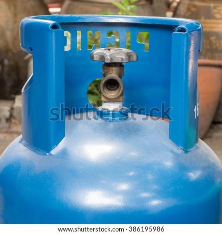 Propane gas balloon. Blue gas tank, gas container. - stock photo