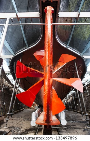 Propeller blades of the SS Great Britain in Bristol - stock photo