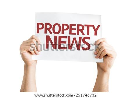 Property News card isolated on white background - stock photo