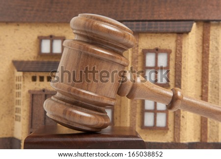 Property offered for sale by a court  - stock photo