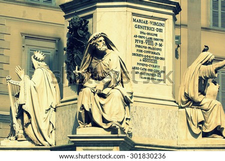 Prophet Isaiah (Isaias) statue in Rome, Italy. Biblical Statues at Base of Colonna dell'Imacolata in rome, Italy ( March 11, 2015 ) - stock photo