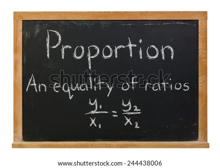 Proportion with the formula written in white chalk on a black wood framed chalkboard isolated on white - stock photo