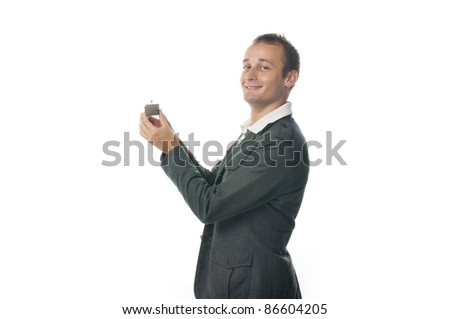 Proposal scene with happy  man. - stock photo