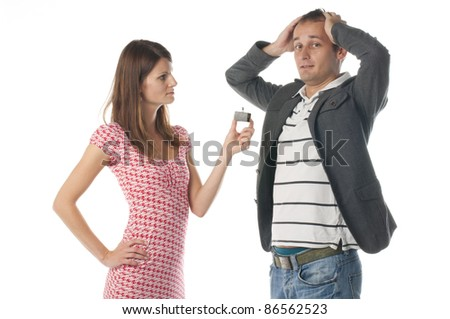Proposal scene with happy woman and sad man. - stock photo