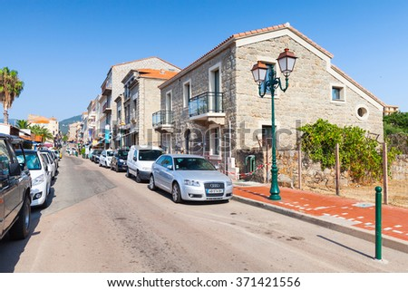 Propriano, France - July 3, 2015: Corsica island, street view of small resort town in a summer