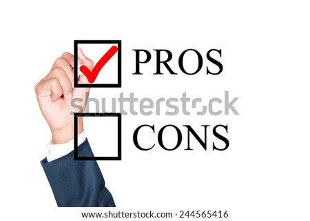 pros is answer choose by businessman tick choice whiteboard white background - stock photo