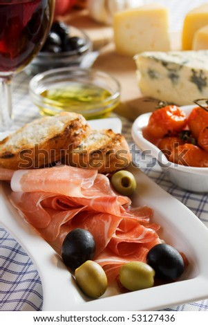 Prosciutto di Parma served as antipasto, traditional italian appetizer