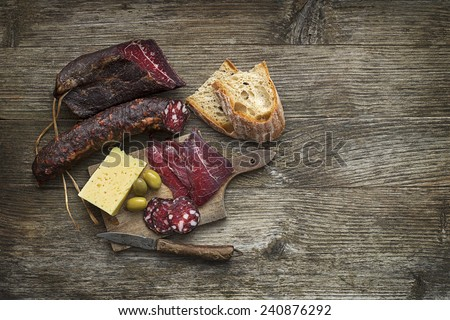 Prosciutto, sausage and cheese on wooden background close up - stock photo