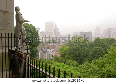 Prospect Terrace Park view of the Providence skyline and Roger Williams statue - stock photo