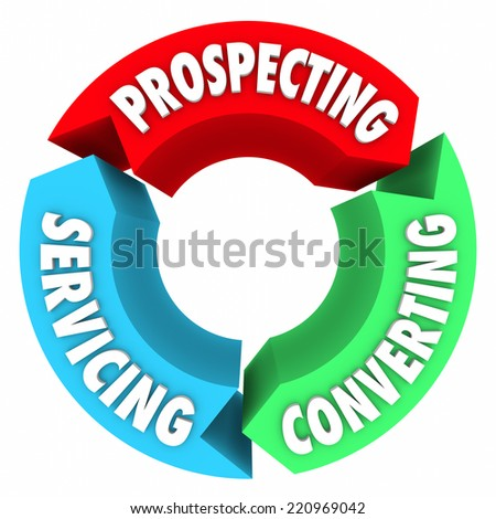 Prospecting, Converting and Servicing words on a diagram of arrows in a cycle for selling in a business or company - stock photo