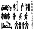 Prostitute Whore Hooker Pimp Stick Figure Pictogram Icon - stock vector
