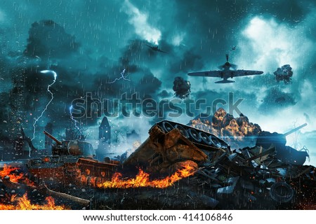 Prostrate tank under fire from enemy aircraft - stock photo