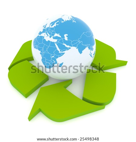 Protect the Earth. Conceptual recycling symbol made from earth globe and a small recycle symbol - stock photo