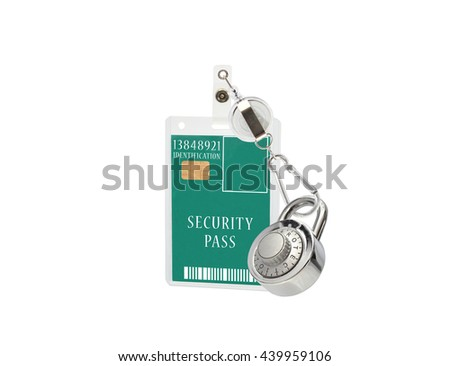 Protected Combination Lock Pale Green Security Pass Identification Badge with Carabiner Hook isolated on white background