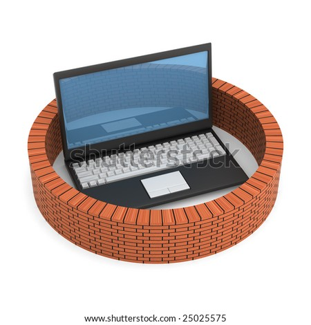 Protected global network the Internet. 3D image. - stock photo