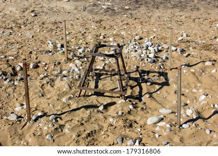 protected turtle nest at the beach of gerakas in Zante - stock photo