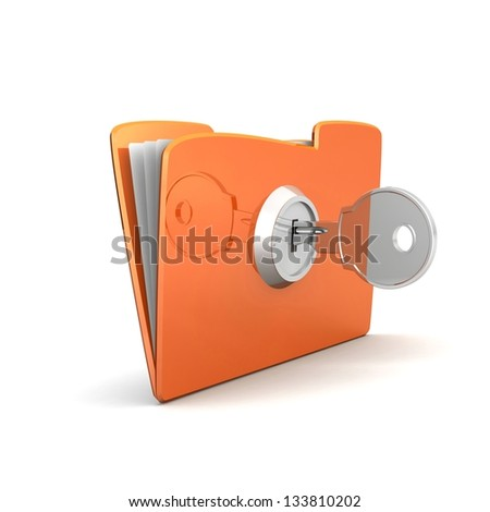 Protecting the Data, folder and lock. Yellow computer folder with files and keys on a white background. 3d illustration. Business concept and security concept - stock photo