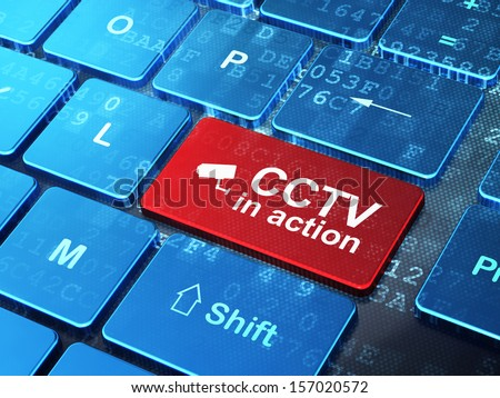 Protection concept: computer keyboard with Cctv Camera icon and word CCTV In action on enter button background, 3d render - stock photo