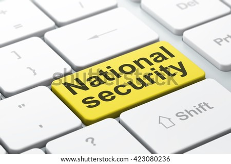 Protection concept: computer keyboard with word National Security, selected focus on enter button background, 3D rendering - stock photo