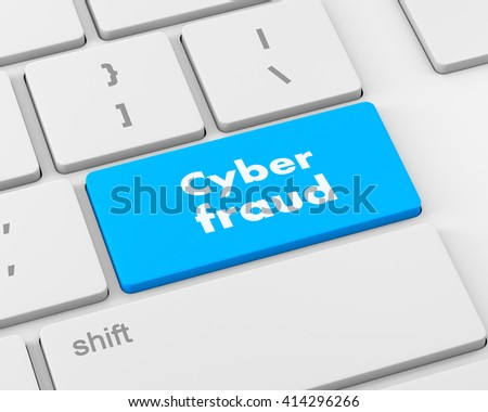 Protection concept: computer keyboard with words Cyber Fraud on enter button background, 3d rendering