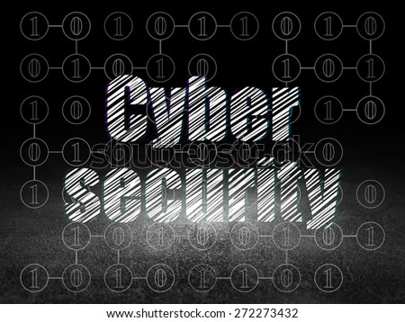 Protection concept: Glowing text Cyber Security in grunge dark room with Dirty Floor, black background with Scheme Of Binary Code, 3d render - stock photo