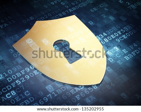 Protection concept: Gold Shield With Keyhole on digital background, 3d render