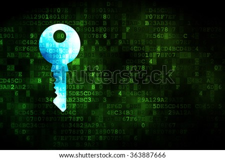 Protection concept: Key on digital background