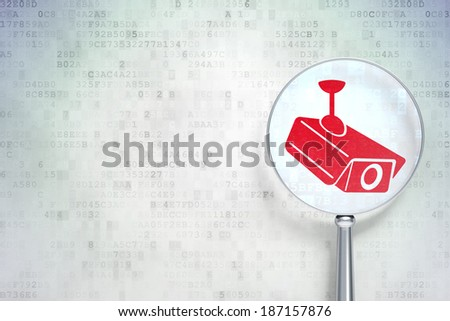 Protection concept: magnifying optical glass with Cctv Camera icon on digital background, empty copyspace for card, text, advertising, 3d render - stock photo