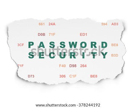 Protection concept: Password Security on Torn Paper background