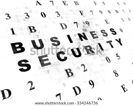 Protection concept: Pixelated black text Business Security on Digital wall background with Hexadecimal Code - stock photo