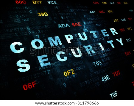 Protection concept: Pixelated blue text Computer Security on Digital wall background with Hexadecimal Code