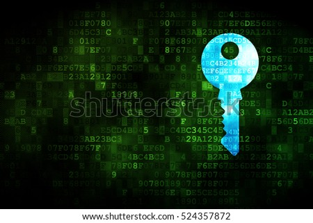 Protection concept: pixelated Key icon on digital background, empty copyspace for card, text, advertising