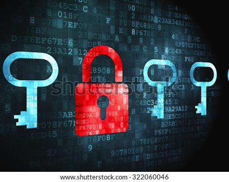 Protection concept: pixelated Padlock And Key icon on digital background - stock photo