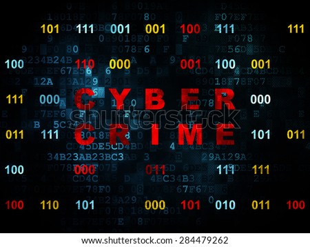 Protection concept: Pixelated red text Cyber Crime on Digital wall background with Binary Code, 3d render