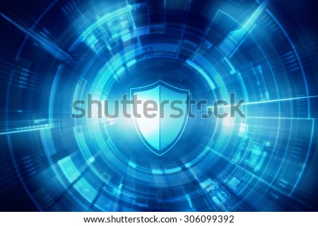 Protection concept: pixelated Shield icon on digital background - stock photo
