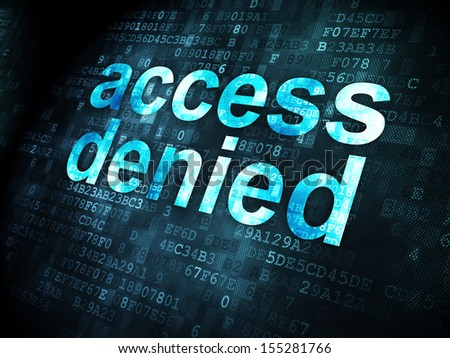 Protection concept: pixelated words Access Denied on digital background, 3d render - stock photo