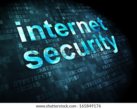 Protection concept: pixelated words Internet Security on digital background, 3d render