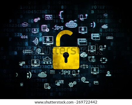 Protection concept: Pixelated yellow Opened Padlock icon on Digital background with  Hand Drawn Programming Icons, 3d render - stock photo