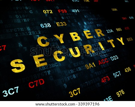 Protection concept: Pixelated yellow text Cyber Security on Digital wall background with Hexadecimal Code - stock photo