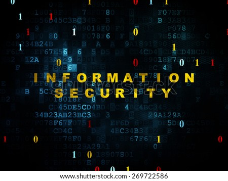 Protection concept: Pixelated yellow text Information Security on Digital background with Binary Code, 3d render - stock photo