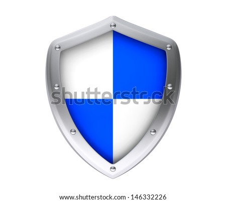 Protection concept. Protective shield on a white background - stock photo