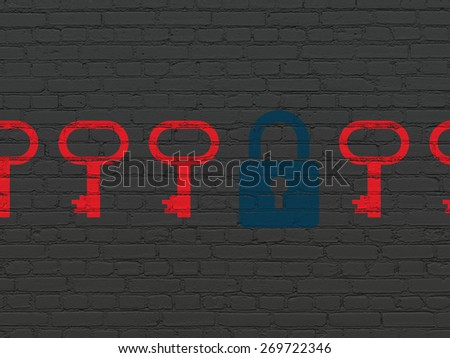 Protection concept: row of Painted red key icons around blue closed padlock icon on Black Brick wall background, 3d render - stock photo