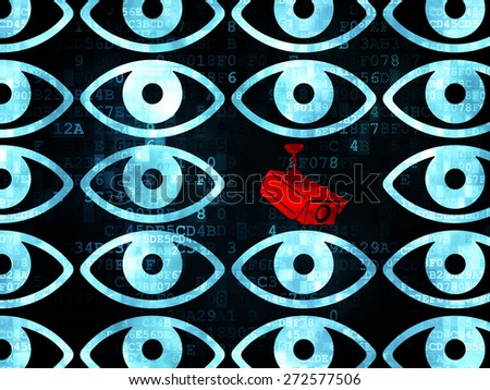 Protection concept: rows of Pixelated blue eye icons around red cctv camera icon on Digital background, 3d render - stock photo