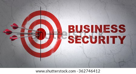Protection concept: target and Business Security on wall background - stock photo