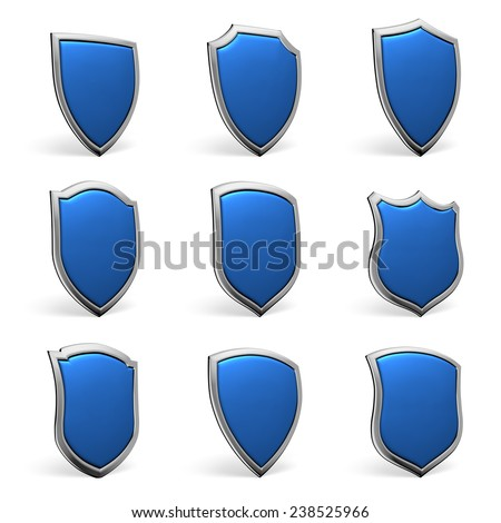 Protection, defense and security concept symbol: blue shields isolated on white background collection set - stock photo