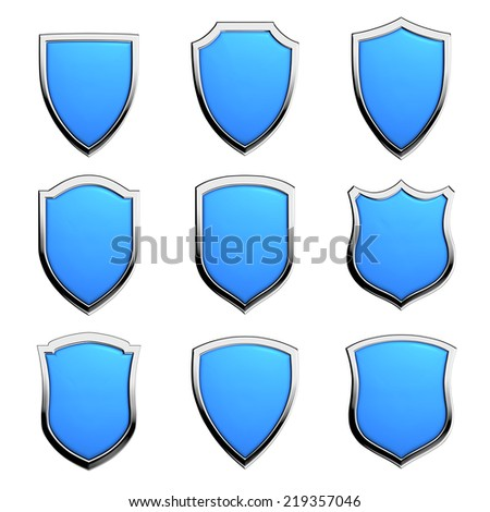 Protection, defense and security concept symbol: blue shields on isolated on white background set - stock photo